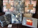LOT OF BLANKETS, THROWS, BEDDING