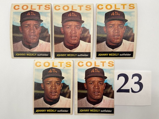 1964 (5) JOHNNY WEEKLY HOUSTON COLTS CARDS TOPPS