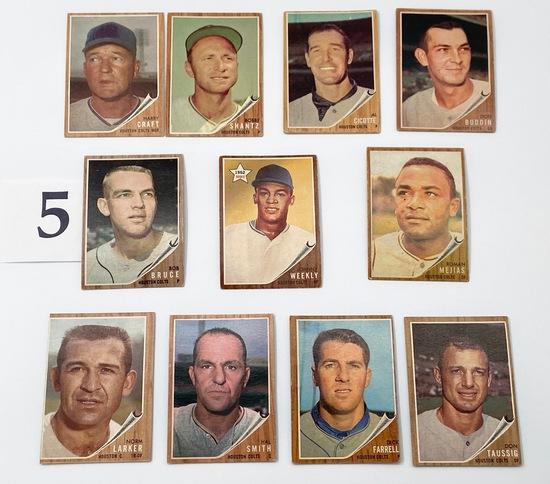 11 1962 TOPPS HOUSTON COLTS BASEBALL CARDS