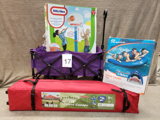 4PC OUTDOOR FUN - CANOPY, FLOAT, TODDLER GAME AND WAGON