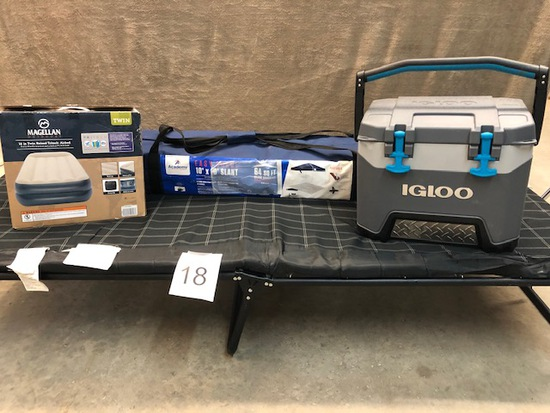 4PC CAMPING GEAR - COTS, COOLER, AIR MATTRESS AND CANOPY