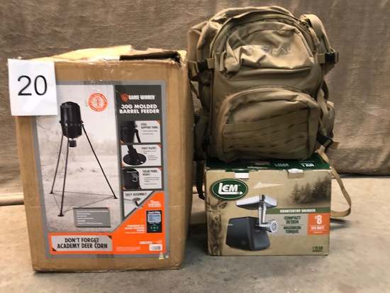 3PC HUNTING GEAR - TACTICAL BAG BACK, BARREL FEEDER AND GRINDER