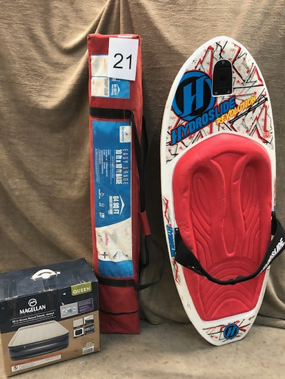 3PC SPORTING LOT - CANOPY, KNEE BOARD AND QUEEN AIR MATTRESS