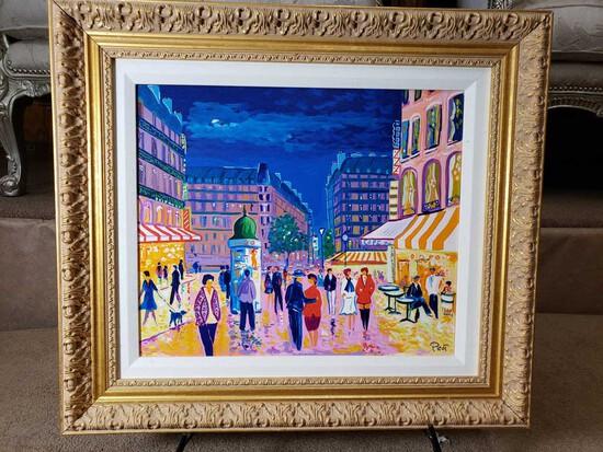 "Framed ""Soir de Paris"" by Jean-Claude Picot Embellished Serigraph 36/100"