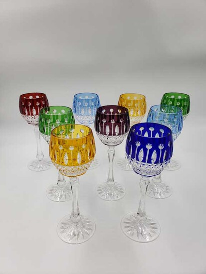 Set of 9 Cut to Clear Colored Crystal Wine Stems