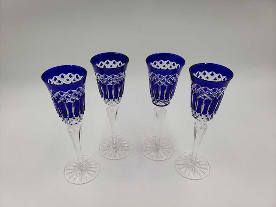Set of 4 Cut to Clear Crystal Cobalt Blue Champagne Flutes