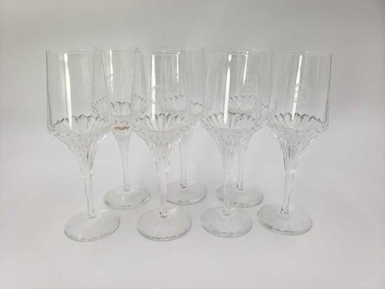 Set of 7 Crystal Wine Glasses with Fleur de Lis