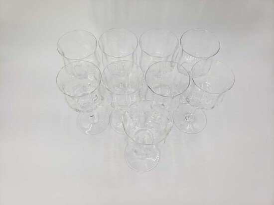 Set of 9 Baccarat Crystal Wine Stems