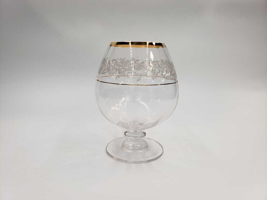 "Set of 11 Mikasa ""Antique Lace"" Gold Rim Crystal Snifter"