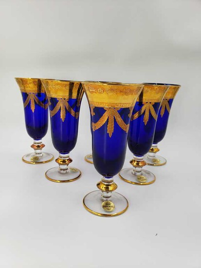 Set of 6 Cobalt and Gold Imperial Made in Italy Water Glasses