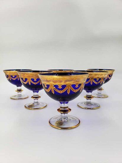 Set of 6 Cobalt and Gold Imperial Made in Italy Shebret Glasses