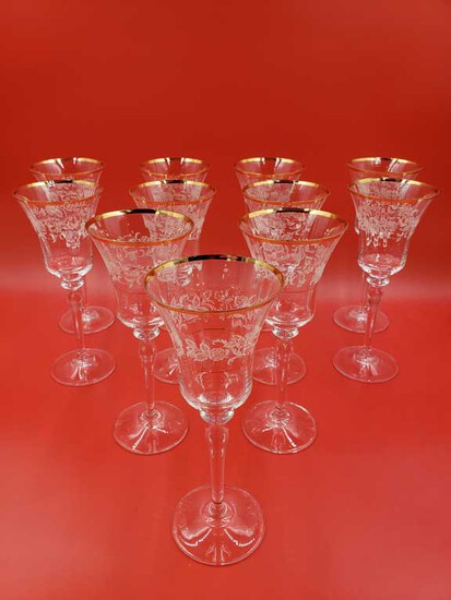 "Set of 11 Mikasa ""Antique Lace"" Gold Rim Crystal Wine Glasses"