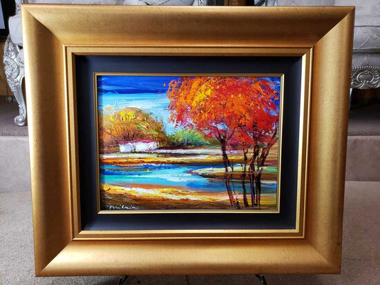 "Framed Oil on Canvas ""Breezy Fall Day"" by Michael Milkin"