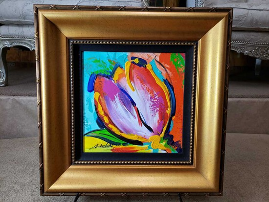 "Framed ""Tulip Surprise"" by Alfred Gockel Oil on Canvas"