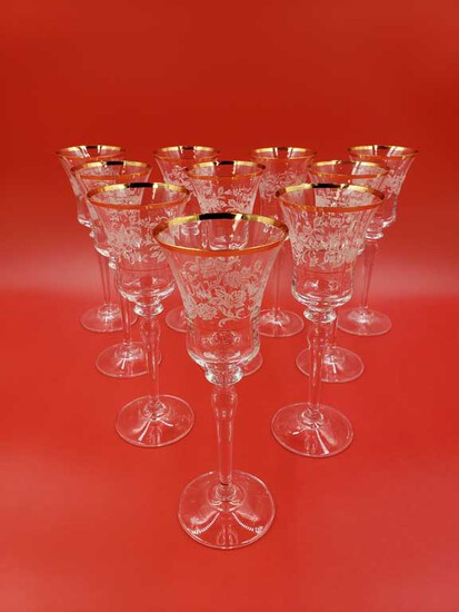 "Set of 18 Mikasa ""Antique Lace"" Gold Rim Crystal Wine Glasses"