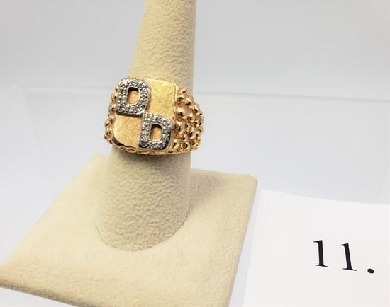 14KT YELLOW GOLD INITIAL DIAMOND RING