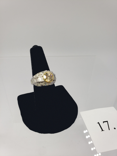 PLATINUM 2.00CT CENTER CHAMPAGNE DIAMOND RING WITH 8 MARQUISE AND 14 BAGUETTE CUT SIDE DIAMONDS