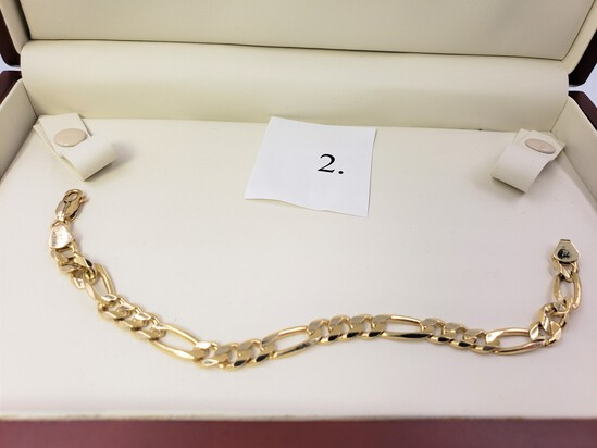 """14KT YELLOW GOLD BRACELET 7.5"""" IN LENGTH MADE IN ITALY"""
