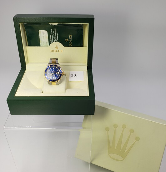 TWO TONE SUBMARINER ROLEX WATCH WITH BLUE DIAL