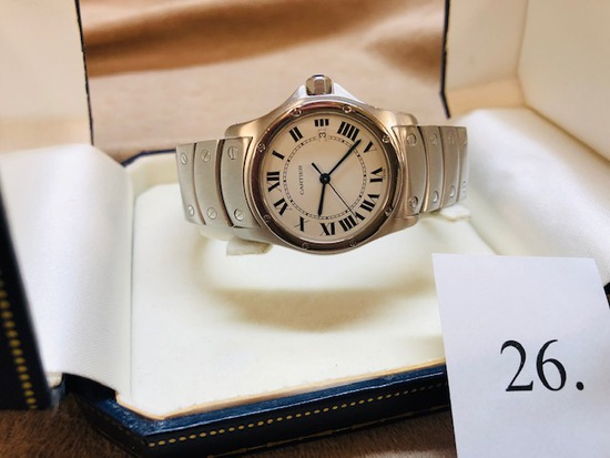 STAINLESS LADY'S CARTIER SANTOS WATCH