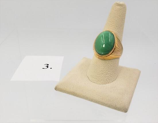 YELLOW GOLD GREEN JADE RING