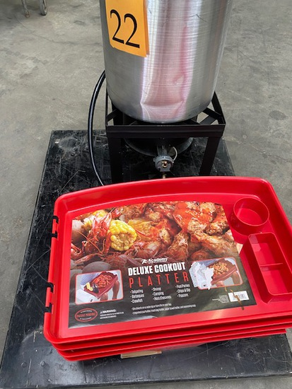 COOKOUT PLATTERS AND LARGE COOKING STOCK POT WITH STAND