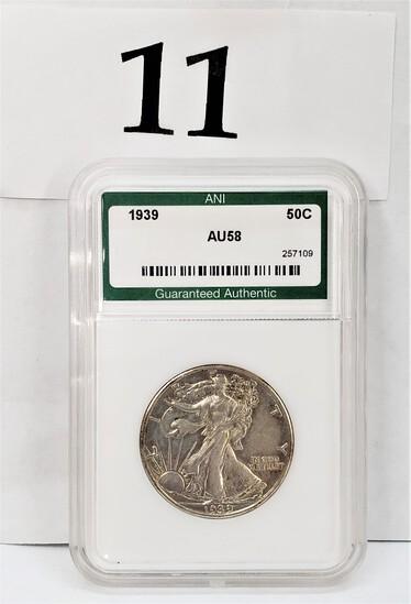 1939 ANI AU58 HALF DOLLAR