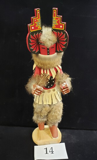 KACHINA WITH REMOVABLE MASK WITH FUR AND FEATHERS