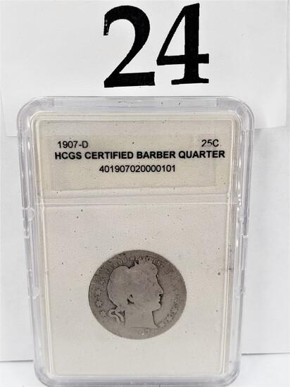 1907-D HCGS CERTIFIED BARBER QUARTER