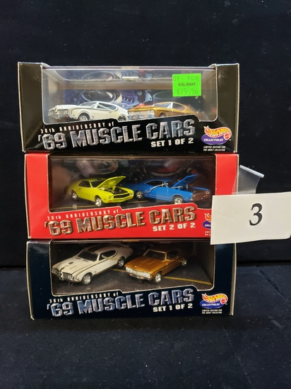 3 PC LOT OF HOT WHEELS '69 MUSCLE CARS 30TH ANNIVERSARY