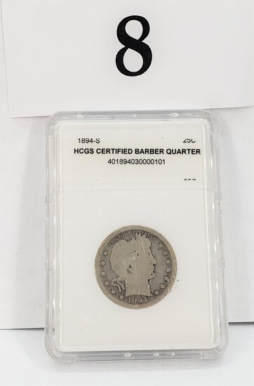 1894-SILVER HCGS CERTIFIED BARBER QUARTER