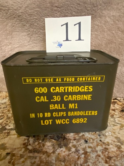 SEALED CAN .30 CARBINE IN 10 ROUND CLIPS