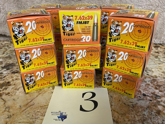 (18) BOXES GOLDEN TIGER 7.62X39