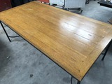 IRON BASE WOOD TOP RECTANGLE DINING TABLE
