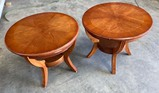 2 ROUND WOOD SIDE TABLES