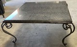 GRANITE TOP WROUGHT IRON BASE TABLE