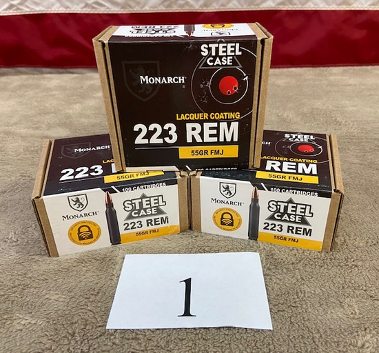 (3) BOXES MONARCH .223 REM AMMO  300 ROUNDS TOTAL