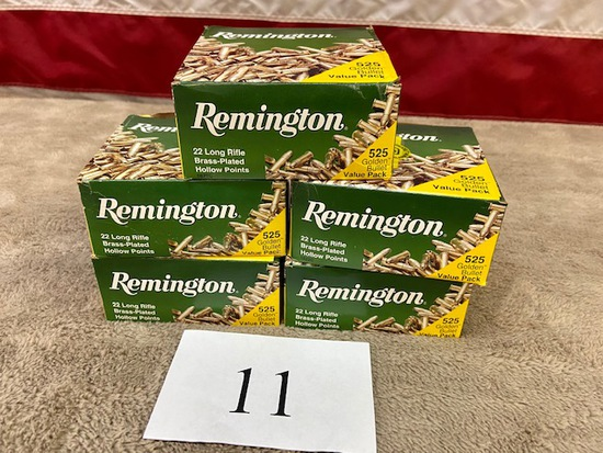 (5) BOXES REMINGTON .22 LONG RIFLE AMMO   2,625  ROUNDS TOTAL