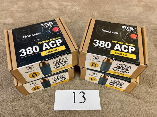 (4) BOXES  MONARCH .380ACP AMMO    800 ROUNDS TOTAL