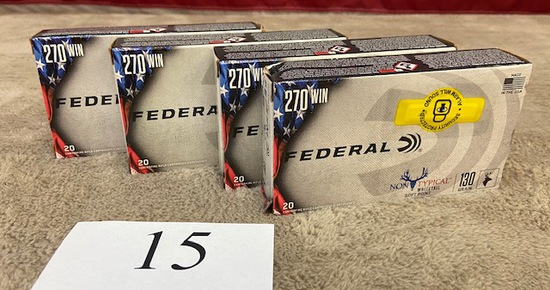 (4) BOXES FEDERAL .270WIN AMMO   80 ROUNDS TOTAL