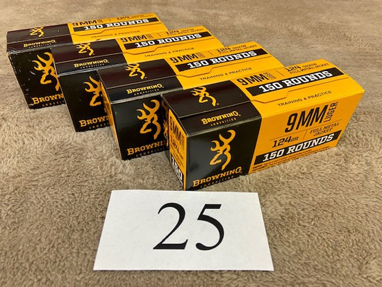 (4) BOXES BROWNING 9MM LUGER AMMO      600 ROUNDS TOTAL