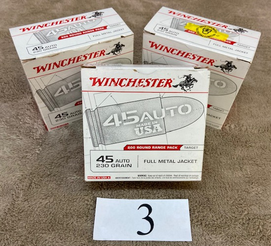 (3) BOXES WINCHESTER .45 AUTO AMMO    600 ROUNDS TOTAL