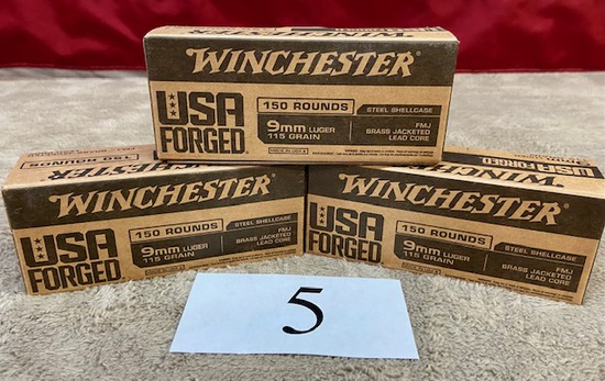 (3) BOXES WINCHESTER 9MM LUGER AMMO   450 ROUNDS TOTAL