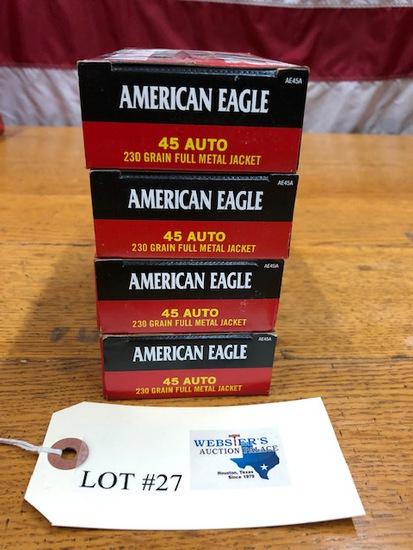 (4)  BOXES AMERICAN EAGLE .45AUTO