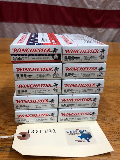 (10)  BOXES WINCHESTER 5.56 FMJ