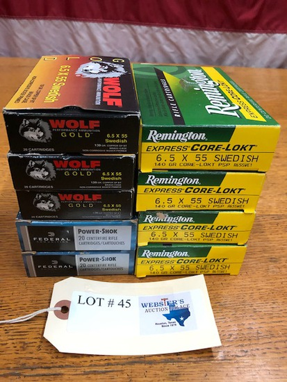 (9 )  BOXES OF 6.5X55 SWEDISH REMINGTON & WOLF