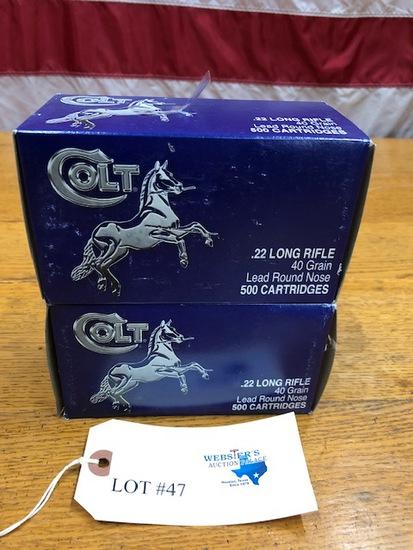 (2)  500 ROUND BOXES COLT 22 LONG RIFLE