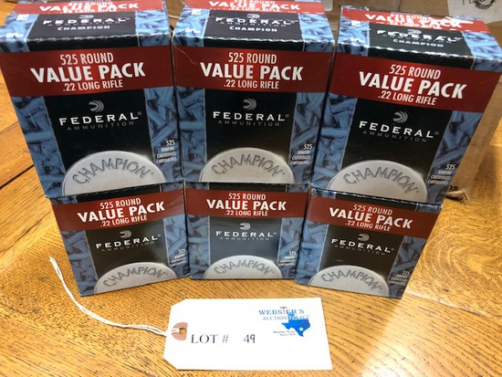 (6) BOXES FEDERAL 22 LONG RIFLE