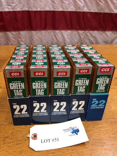 (25)  BOXES CCI GREEN TAG 22 LONG RIFLE