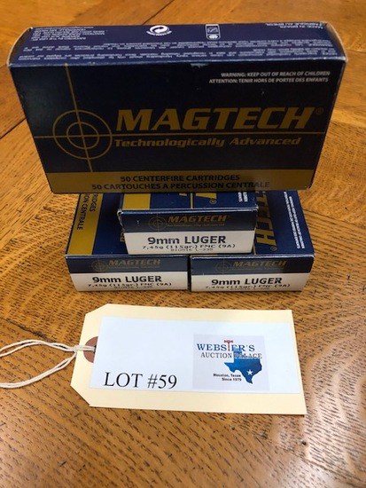 (4)  BOXES MAGTECH 9MM LUGER